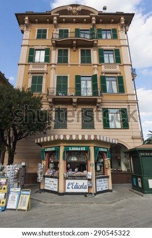 SANTA MARGHERITA LIGURE, ITALY - OCTOBER 15, 2009: A small newsstand in a Ligurian small town in Italy