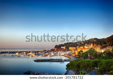 Santa Margherita Ligure on the Italian Riviera.  Sunset view. - stock photo