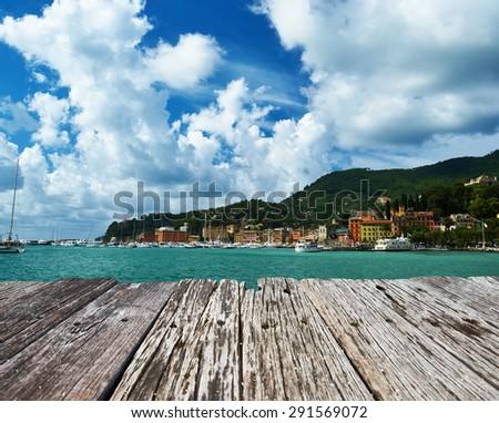 Santa Margherita Ligure town on Ligurian coast in Italy - stock photo