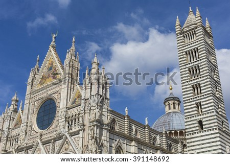 Santa Maria Assunta Cathedral in Siena, Italy. Made between 1215 and 1263, it is a major tourism attraction in Siena.