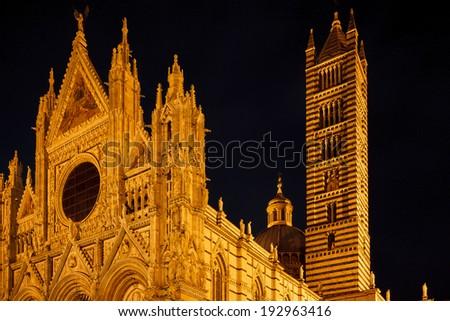 Santa Maria Assunta dome in Siena - Night photography. - stock photo