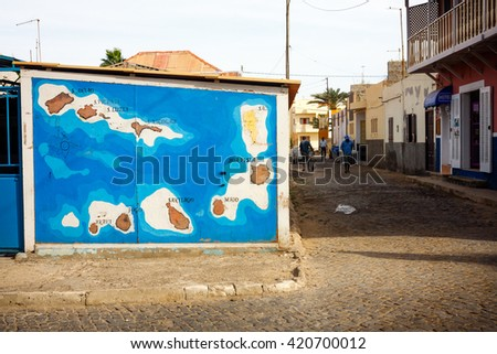SANTA MARIA, CAPE VERDE - DECEMBER 17, 2015: Cabo Verde map on a wall in Santa Maria Town, Sal island. - stock photo