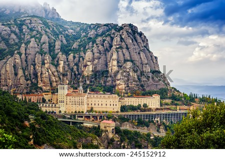 Santa Maria de Montserrat monastery. Monastery on mountain near Barcelona, in Catalonia - stock photo