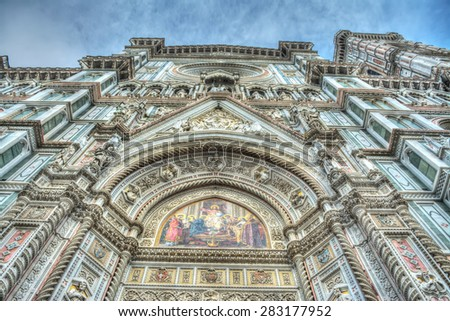 Santa Maria del Fiore front view in Florence, Italy - stock photo