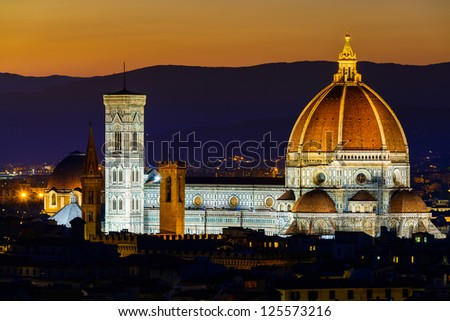 Santa Maria del Fiore, the Florence Duomo at sunset - stock photo