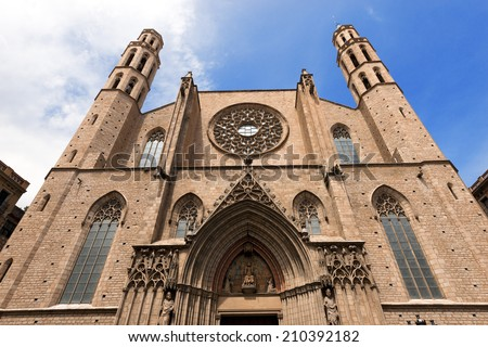 Santa Maria del Mar - Barcelona Spain / Facade of the Basilica of Santa Maria del Mar (1329-1383) in Catalan Gothic style in Barcelona, Catalonia, Spain - stock photo