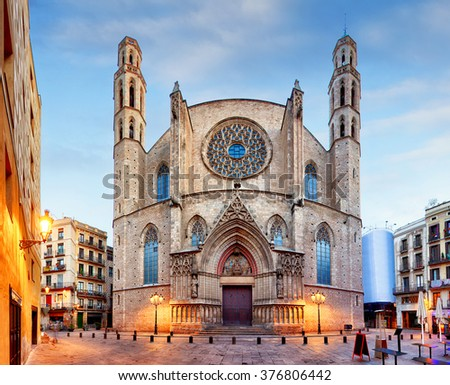 Santa Maria del Mar church in Barcelona - stock photo