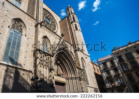 Santa Maria del Mar church in Barcelona, Spain. It is one of the most beautiful Churches in Barcelona. - stock photo