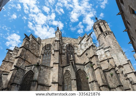 Santa Maria del Mar church in Barcelona, Spain. It is one of the most beautiful churches in Barcelona. Back view. - stock photo