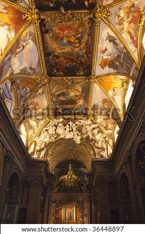Santa Maria in Trevio Church Next to Trevi Fountain, Painted Ceilings, Altar, Rome Italy
