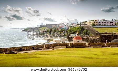Santa Maria Magdalena de Pazzis cemetery in old San Juan, Puerto Rico - stock photo