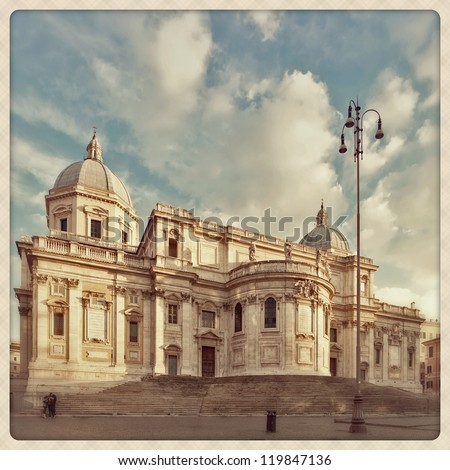 Santa Maria Maggiore Basilica shoot with a mobile phone style - stock photo