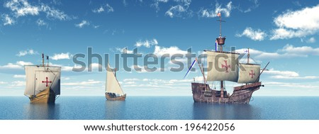 Santa Maria, Nina and Pinta of Christopher Columbus Computer generated 3D illustration - stock photo