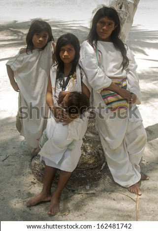 SANTA MARTA, COLOMBIA - SEPT 4   Unidentified KOGUI  Indians on Sept 4, 2010 in Sta Marta, Colombia  Descendants of the Tayrona culture, they live in isolation in the Colombian Sierra Nevada Mountains