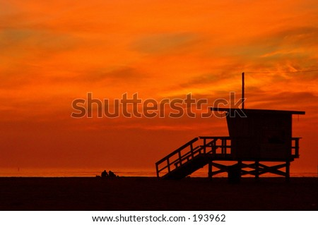 Santa Monica beach at sunset - stock photo