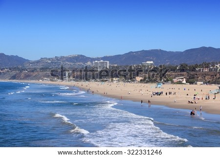 Santa Monica beach in Los Angeles county, California. - stock photo