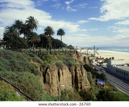 Santa Monica beach looking south to pier - stock photo