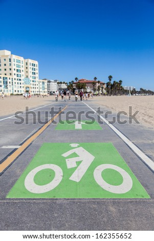 Santa Monica beach - Los Angeles. A bicycle path for active people - stock photo