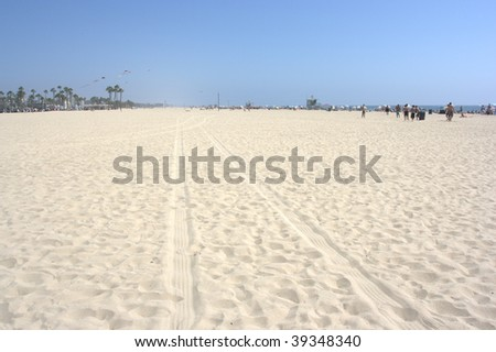 santa monica beach, los angeles, california - stock photo