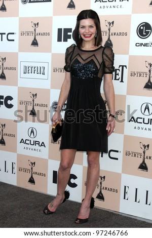 SANTA MONICA, CA - FEB 26: Delphine Chaneac at the 2011 Film Independent Spirit Awards at Santa Monica Beach on February 26, 2011 in Santa Monica, California - stock photo