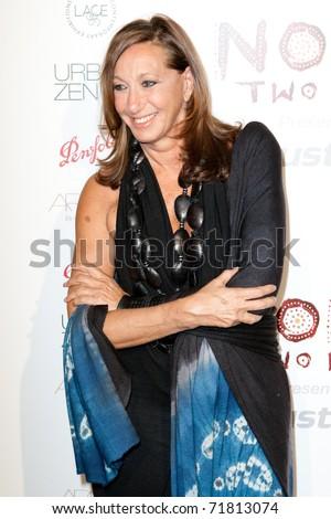 SANTA MONICA, CA. - FEB 22: Fashion designer & creator of DKNY clothing label Donna Karan arrives at the Nomad Two Worlds Los Angeles gala at 59 Pier Studios West on Feb 22, 2011 in Santa Monica, CA. - stock photo