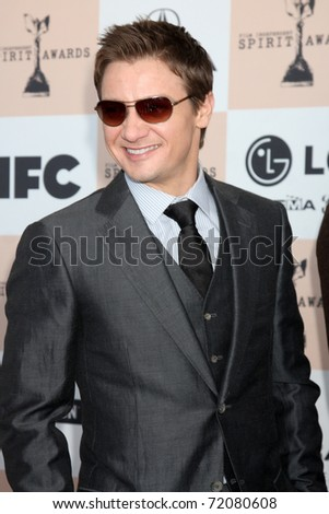 SANTA MONICA, CA - FEB 26:  Jeremy Renner arrives at the 2011 Film Independent Spirit Awards at the Beach on February 26, 2011 in Santa Monica, CA - stock photo