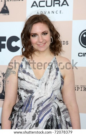 SANTA MONICA, CA - FEB 26:  Lena Dunham arrives at the 2011 Film Independent Spirit Awards at the Beach on February 26, 2011 in Santa Monica, CA - stock photo