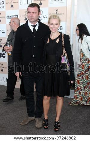 SANTA MONICA, CA - FEB 26: Liev Schreiber (L) and Naomi Watts at the 2011 Film Independent Spirit Awards at Santa Monica Beach on February 26, 2011 in Santa Monica, California - stock photo