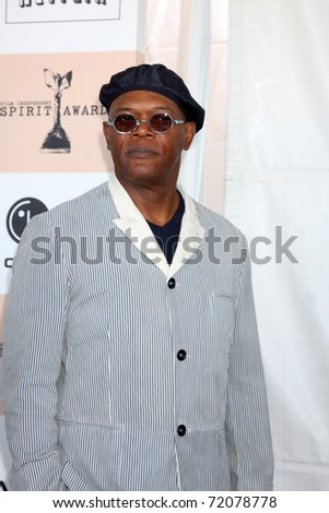 SANTA MONICA, CA - FEB 26:  Samuel L. Jackson arrives at the 2011 Film Independent Spirit Awards at the Beach on February 26, 2011 in Santa Monica, CA - stock photo