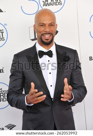 SANTA MONICA, CA - FEBRUARY 21, 2015: Common at the 30th Annual Film Independent Spirit Awards on the beach in Santa Monica.  - stock photo