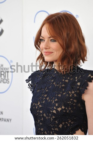 SANTA MONICA, CA - FEBRUARY 21, 2015: Emma Stone at the 30th Annual Film Independent Spirit Awards on the beach in Santa Monica.  - stock photo