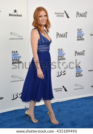 SANTA MONICA, CA - FEBRUARY 27, 2016: Jessica Chastain at the 2016 Film Independent Spirit Awards on the beach in Santa Monica, CA. - stock photo