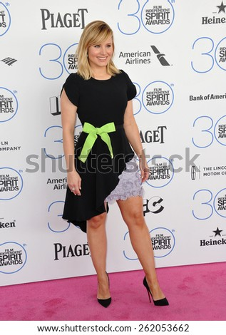 SANTA MONICA, CA - FEBRUARY 21, 2015: Kristen Bell at the 30th Annual Film Independent Spirit Awards on the beach in Santa Monica.