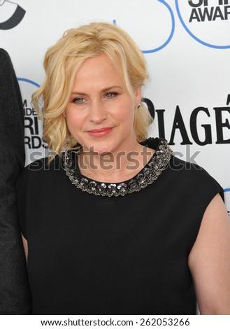 SANTA MONICA, CA - FEBRUARY 21, 2015: Patricia Arquette at the 30th Annual Film Independent Spirit Awards on the beach in Santa Monica.  - stock photo