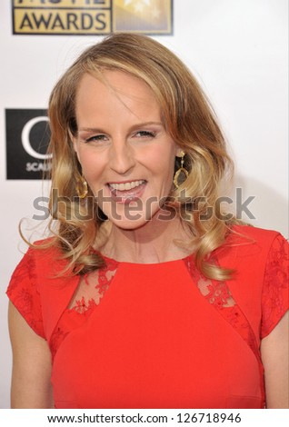 SANTA MONICA, CA - JANUARY 10, 2013: Helen Hunt at the 18th Annual Critics' Choice Movie Awards at Barker Hanger, Santa Monica Airport. - stock photo