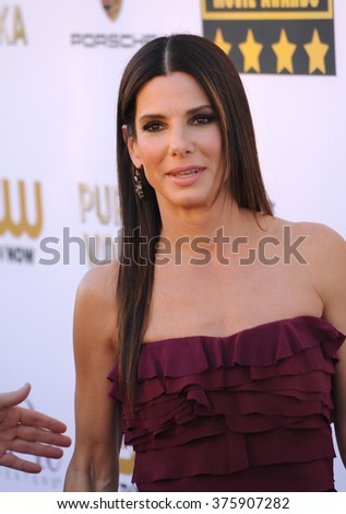 SANTA MONICA, CA - JANUARY 16, 2014: Sandra Bullock at the 19th Annual Critics' Choice Awards at The Barker Hangar, Santa Monica Airport.