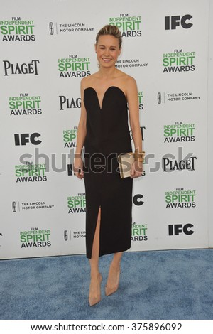 SANTA MONICA, CA - MARCH 1, 2014: Brie Larson at the 2014 Film Independent Spirit Awards on the beach in Santa Monica, CA.