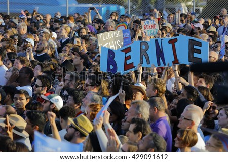 SANTA MONICA, CA - MAY 23, 2016: US Democratic presidential candidate Bernie Sanders (D - VT) at a Presidential rally at Santa Monica High School Football Field in Santa Monica, California.