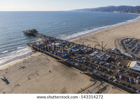 Santa Monica, California, USA - December 17, 2016:  Aerial of Santa Monica Pier and beach near Los Angeles California.