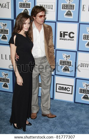 SANTA MONICA - FEB 23: Brad Pitt and Angelina Jolie  at the 2008 Independent Spirit Awards held on the beach in Santa Monica, California on February 23, 2008 - stock photo