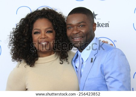 SANTA MONICA - FEB 21: Oprah Winfrey, David Oyelowo at the 2015 Film Independent Spirit Awards on February 21, 2015 in Santa Monica, California - stock photo