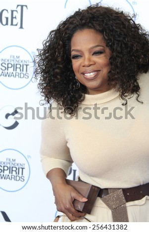 SANTA MONICA - FEB 21: Oprah Winfrey, David Oyelowo at the 2015 Film Independent Spirit Awards on February 21, 2015 in Santa Monica, California - stock photo