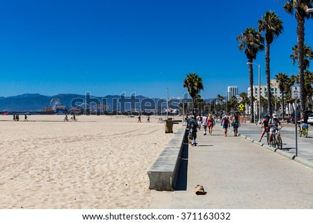 SANTA MONICA, LOS ANGELES - SEPTEMBER 13: Daytime view of the Venice Beach in Santa Monica - a part of Los Angeles on September 13, 2015. Venice Beach is popular by domestic residents for relaxing. - stock photo