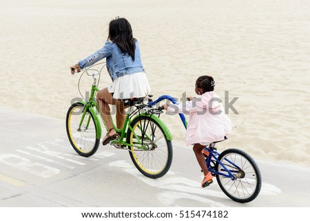 SANTA MONICA - NOVEMBER 12, 2016: Bicycle riding on the beach on November 12, 2016 Santa Monica, CA
