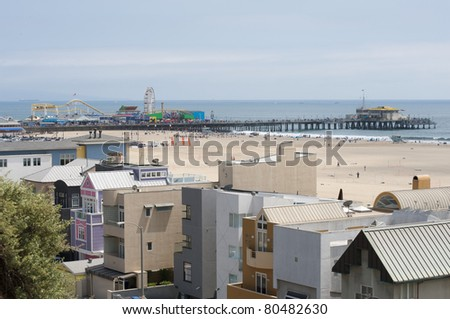 Santa Monica Pier in California - stock photo