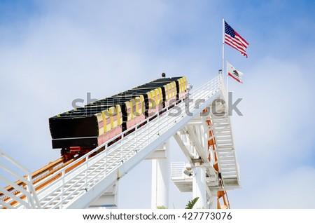 Santa Monica Pier Rollercoaster - stock photo