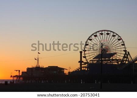 Santa Monica Pier Sunset - stock photo