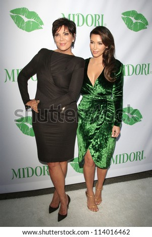SANTA MONICA - SEP 25: Kris Jenner, Kim Kardashian at the Midori Makeover Parlour at Fred Segal on September 25, 2012 in Santa Monica, California - stock photo