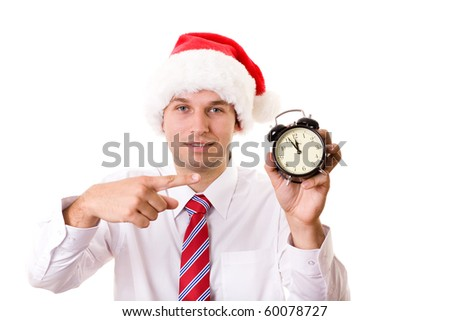 santa point to clock with his finger, 5 to 12, studio shoot isolated on white - stock photo
