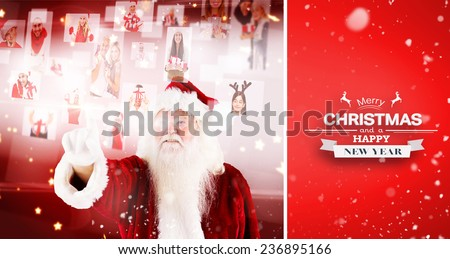 santa pointing to christmas people collage against red vignette - stock photo